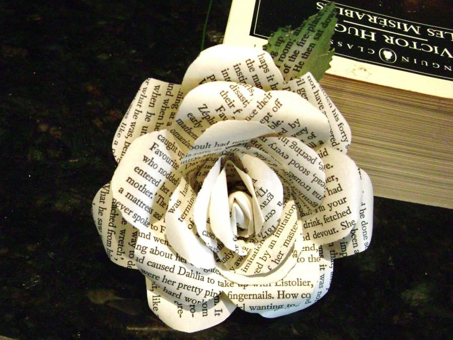 victor hugos les miserables recycled book page paper roses flowers for wedding bouquet decorations bridesmaid bouquets toss farmhouse style - Book Page Decorations
