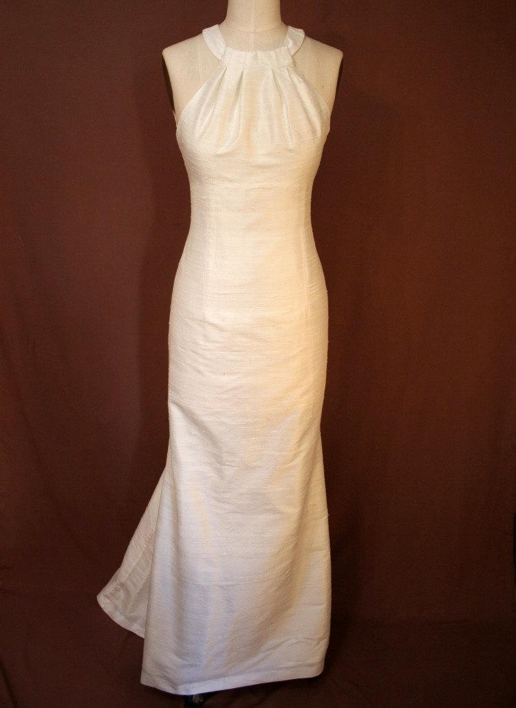 Simple Ivory Halter Fit And Flare Shantung Wedding Dress