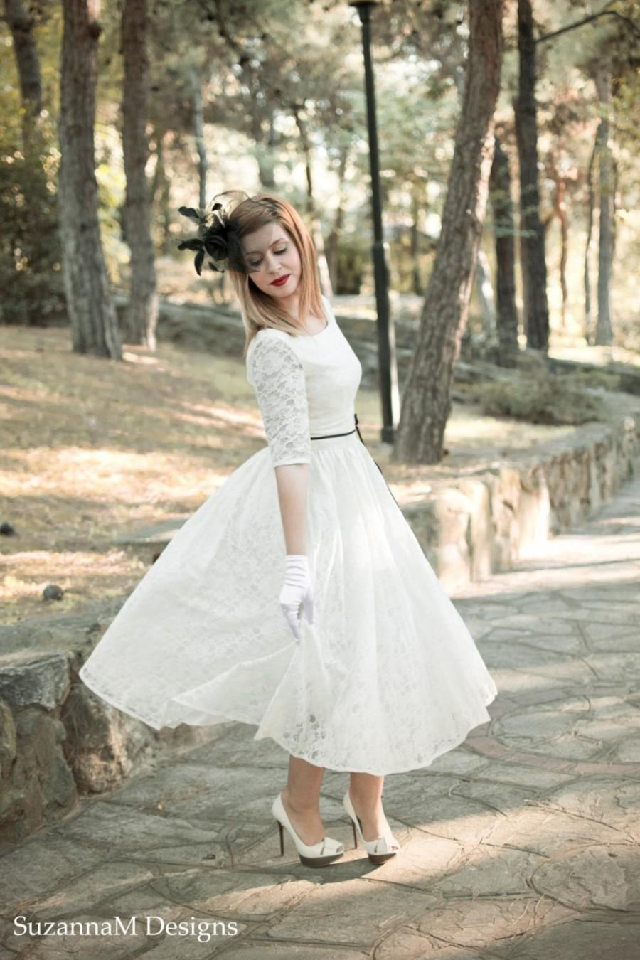 Ivory Cream 50s Wedding Dress Full Skirt Original 50s Style Bridal ...