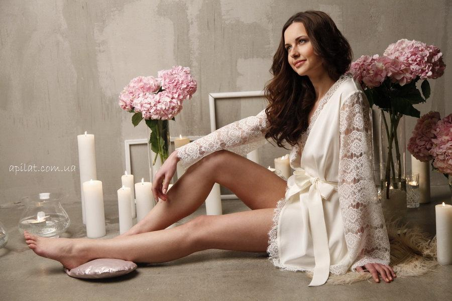 Short Silk Bridal Robe With Lace Sleeves F6(Lingerie), Bridal ...
