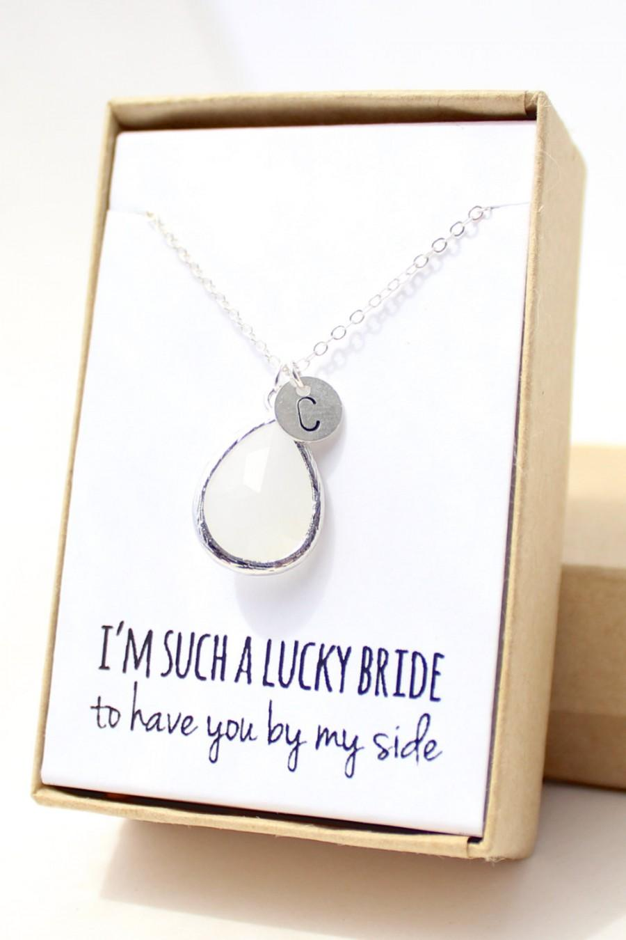 bridesmaid teardrop media silver gift necklace opal white jewelry and