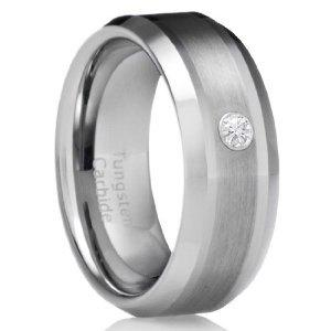 Tungsten wedding bands for men with diamonds