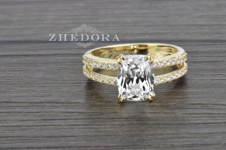 Wedding - 3.25 CT Yellow Gold Bridal Engagement Ring With Cushion Cut Stone Solid 14K Gold