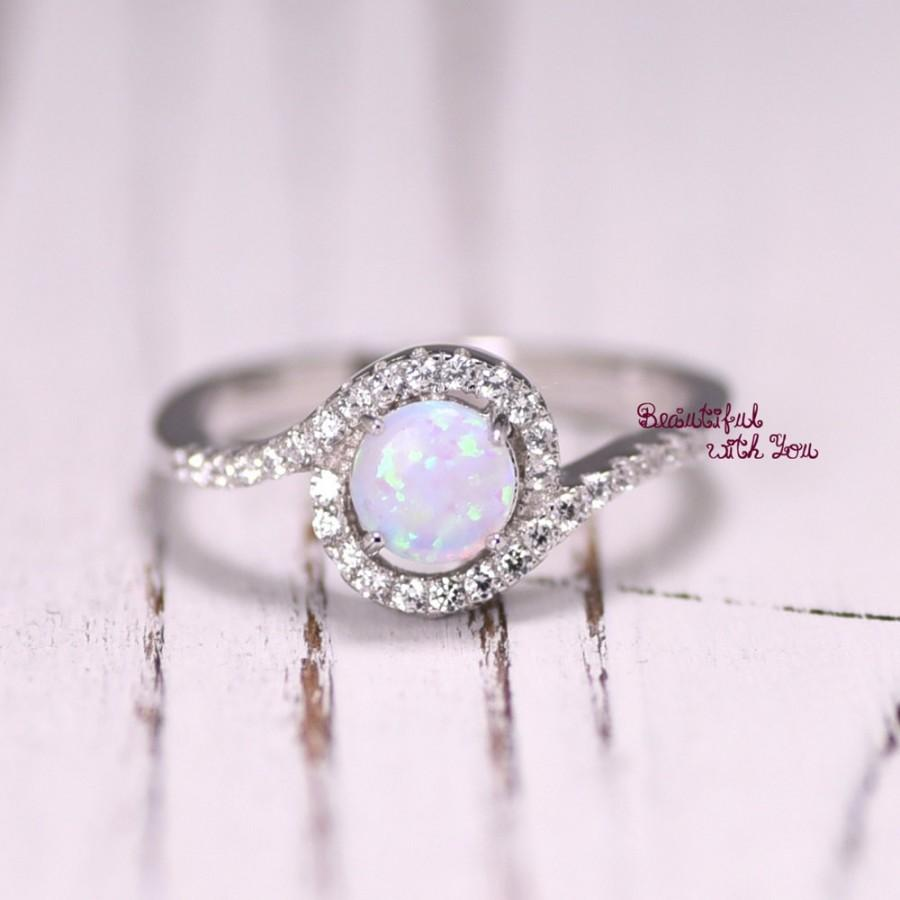 silver lab opal ring white opal ring opal wedding band womens opal wedding ring promise ring for her opal engagement ring halo ring - Opal Wedding Ring