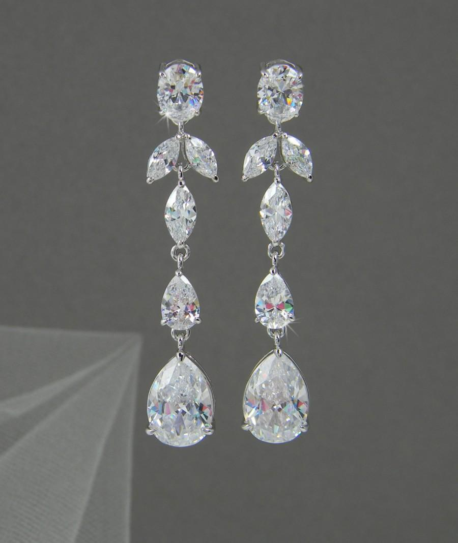Crystal Bridal Earrings Wedding Jewelry Long Dangle Swarovski Crystals Keelin