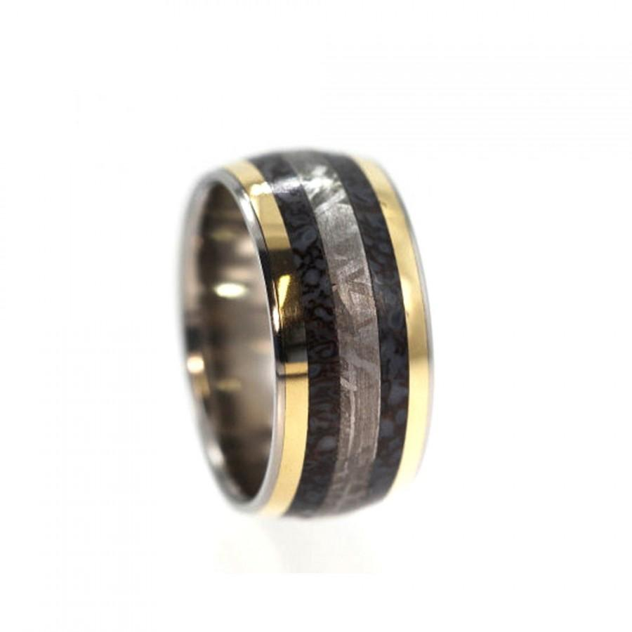 dinosaur bone ring with meteorite and 14k gold inlay unique wedding band for men and women statement jewelry signature series - Dinosaur Bone Wedding Ring