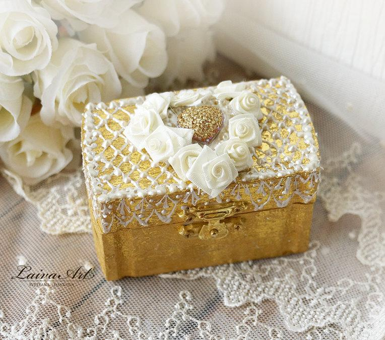 Wedding Ring Bearer Pillow Box Ring Holder Boho Wedding Beach