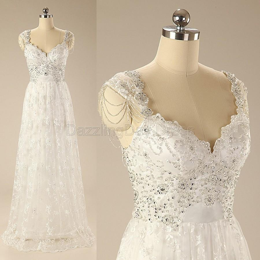 Ivory luxury sleeveless lace applique chapel train wedding for Ivory beaded wedding dress