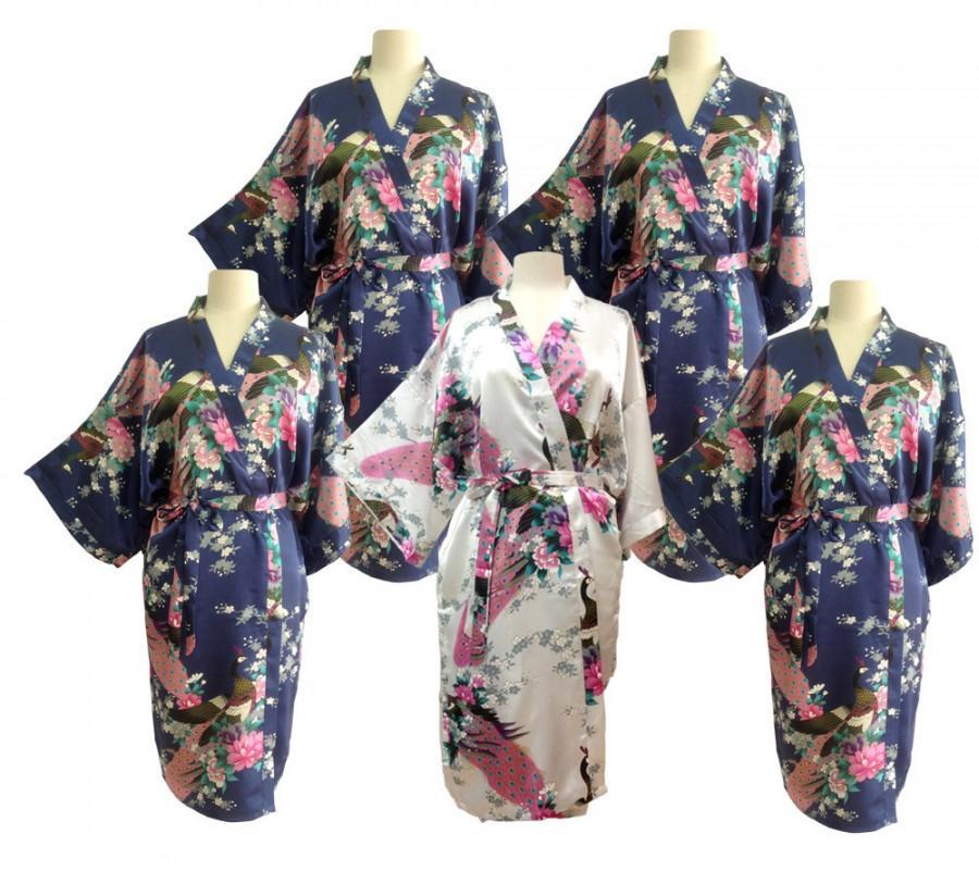 1c6b027c00 Sale Set 5 Kimono Robes Bridesmaids Silk Satin 1 White 4 Navy blue Color  Paint Peacock Design Pattern Gift Wedding dress for Party