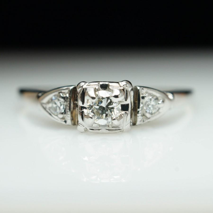 vintage art deco solitaire diamond engagement ring 14k white gold art deco engagement ring vintage engagement ring petite engagement ring - Art Deco Wedding Rings