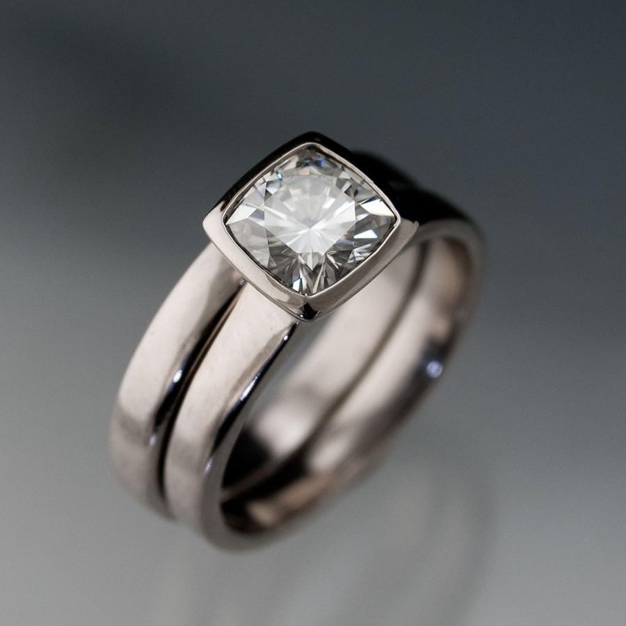 Moissanite Bezel Set Cushion Engagement Ring And Wedding Band Bridal