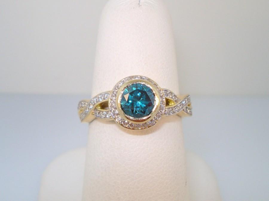blue u0026 white diamond engagement ring 130 carat 14k yellow gold handmade ring micro pave set handmade