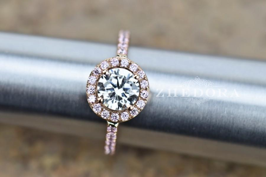 Свадьба - 2.50 CT Engagement Ring Round Cut Halo Solid 14k Rose Gold Bridal Bridal