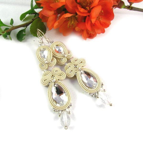Свадьба - Soutache earrings Wedding jewelry Bridal earrings with Swarovski crystals soutache long, dangle, pebbles, oriental