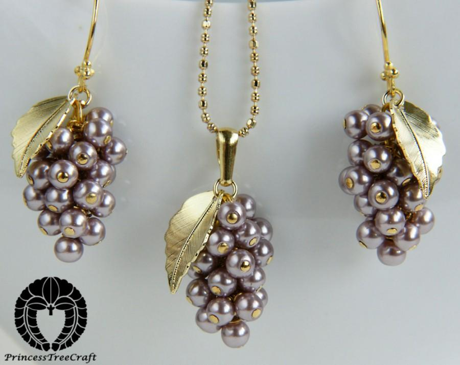 زفاف - Tiny Grapes Earrings and Necklace Set -  Mountbatten pink Glass Pearls Jewelry Set