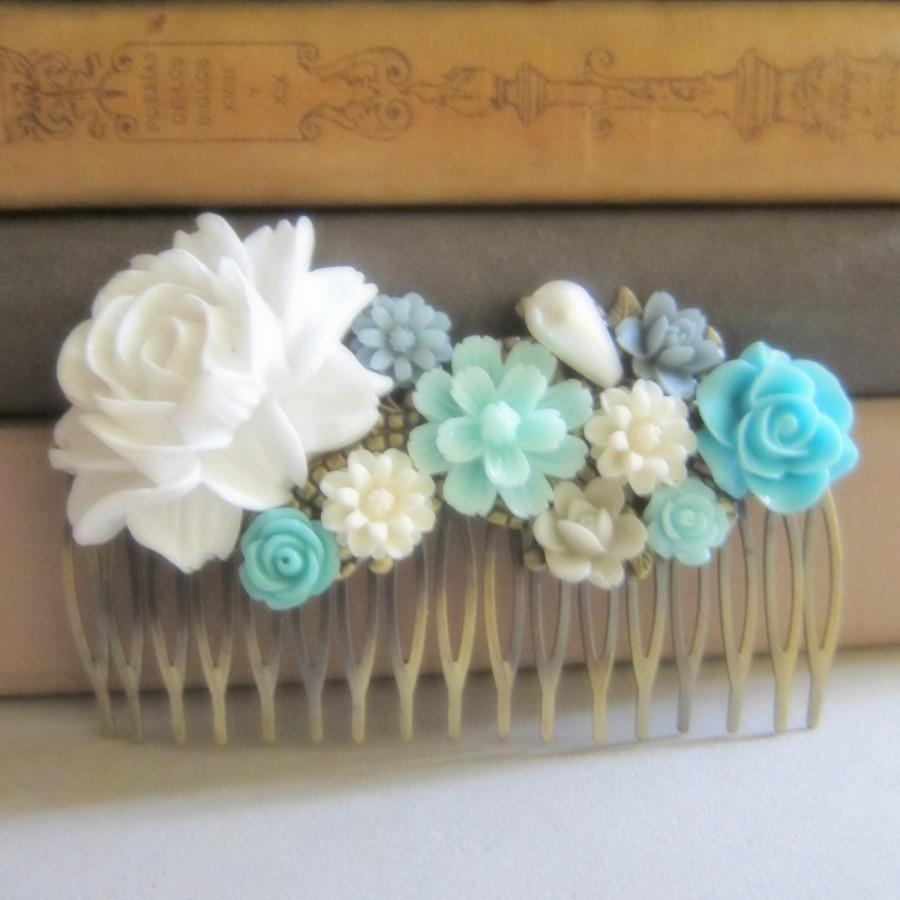 Свадьба - Blue Wedding Comb Turquoise White Mint Blue Bridal Hair Comb Pastel Teal Flower Statement Floral Headpiece Maid of Honor Bridesmaid Gift