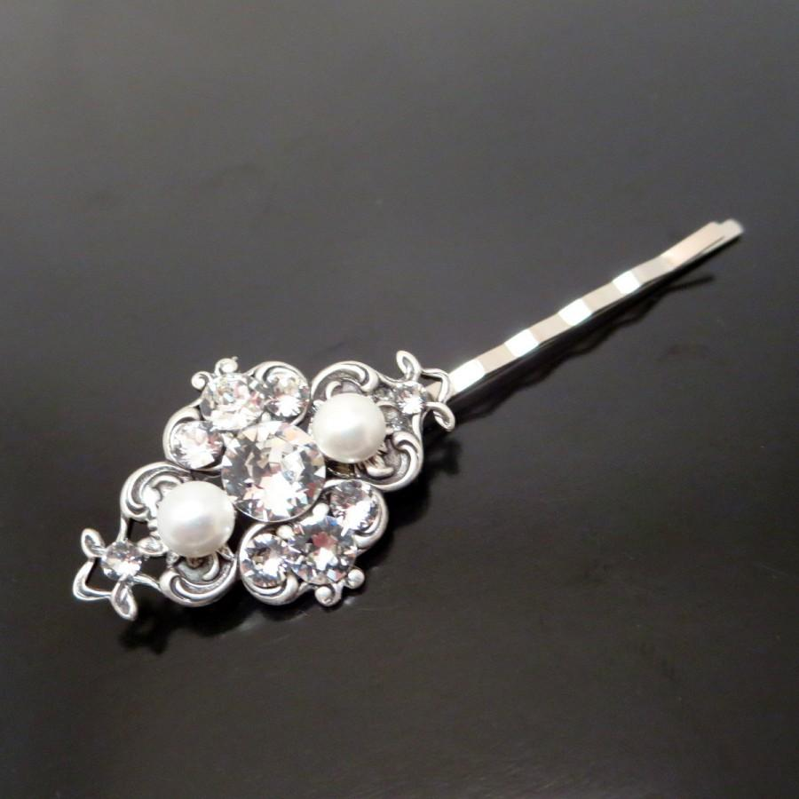 Mariage - Bridal hair pin, Wedding hair pin, Swarovski crystal and pearl hair pin, Antique silver hair pin, Hair accessories, ASHLYN