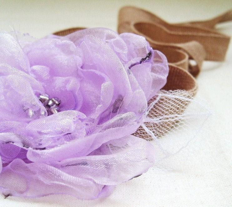 Boda - Weddings Bridal Accessories Hair Sash Headband Wrist Corsage Radiant Orchid Purple Pastel Lilac Organza Flower Tulle Leaves Fairytale Flower