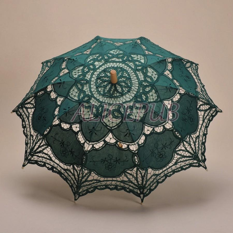 Boda - Dark Green Lace Parasol, Wedding Bridal Umbrella, Jasper Sun Umbrella, Handmade Umbrella, Vintage Umbrella, Bridesmaid Umbrella HS11-22