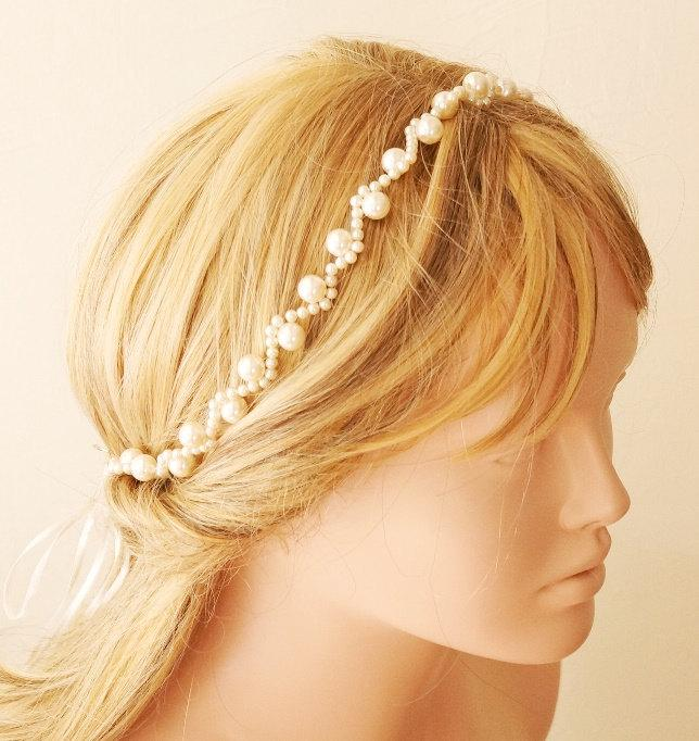 زفاف - Bridal Headband, Wedding Headband,  Wedding Trends Hair Halo,  Pearl Hairband, Bridal Hair Accessory, Wedding hair Accessory