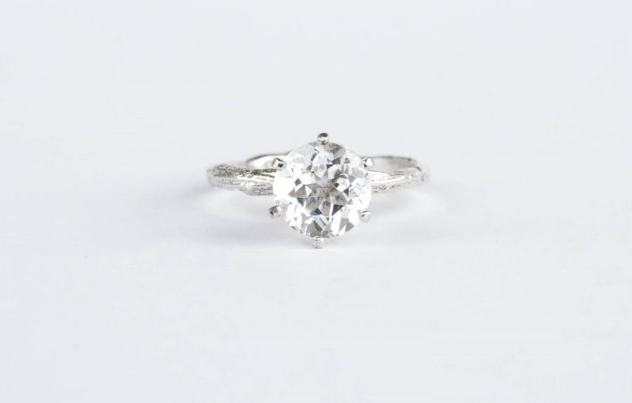 Wedding - Large white topaz twig engagement ring, sterling silver twig ring
