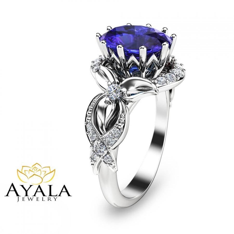 زفاف - Tanzanite Ring-White Gold Tanzanite Engagement Ring-3 Carat Oval Cut Natural Tnazanite