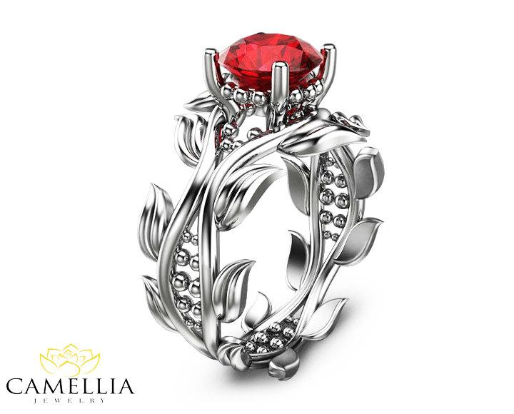 leaf ring 14k white gold ruby ring ruby engagement ring ruby ring gold leaf ring - Ruby Wedding Ring