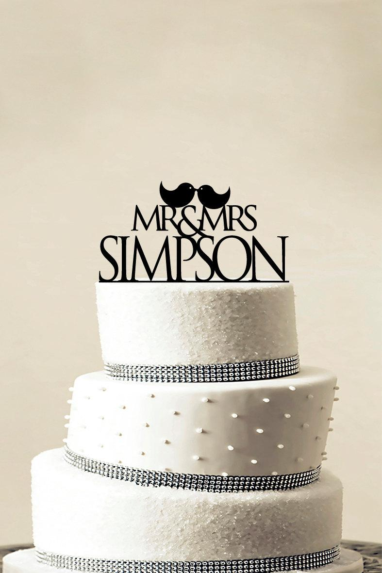 Mariage - Custom Wedding Cake Topper - Personalized Monogram Cake Topper - Mr and Mrs - Cake Decor - Bride and Groom
