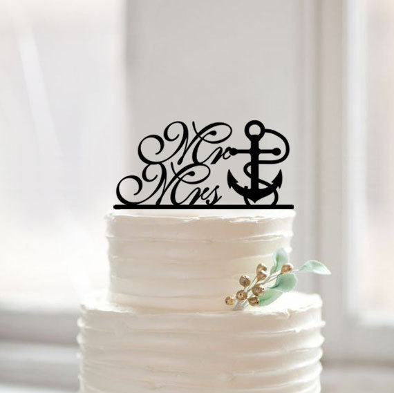 Mariage - Nautical cake topper wedding,custom mr and mrs cake topper with anchor,traditional cake topper,rustic cake topper,unqiue cake topper design