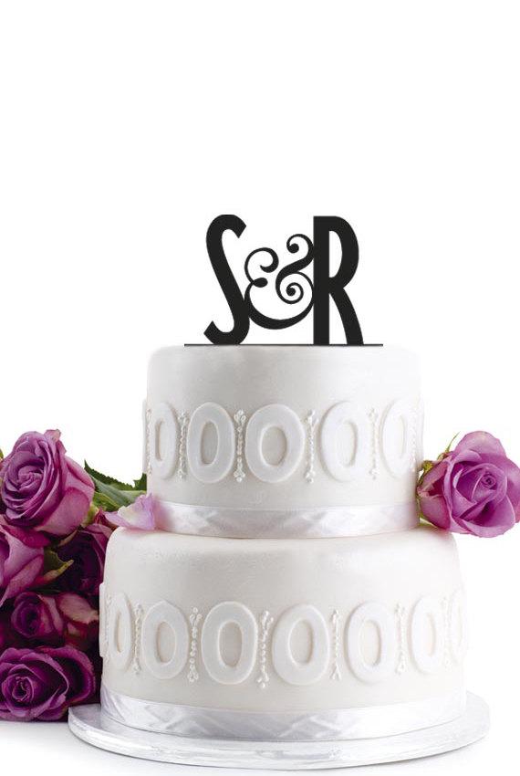 Свадьба - ON SALE !!! Wedding Cake Topper -  Initial Wedding Decoration - Cake Decor Personalized Wedding Cake Topper - Monogram Cake Topper