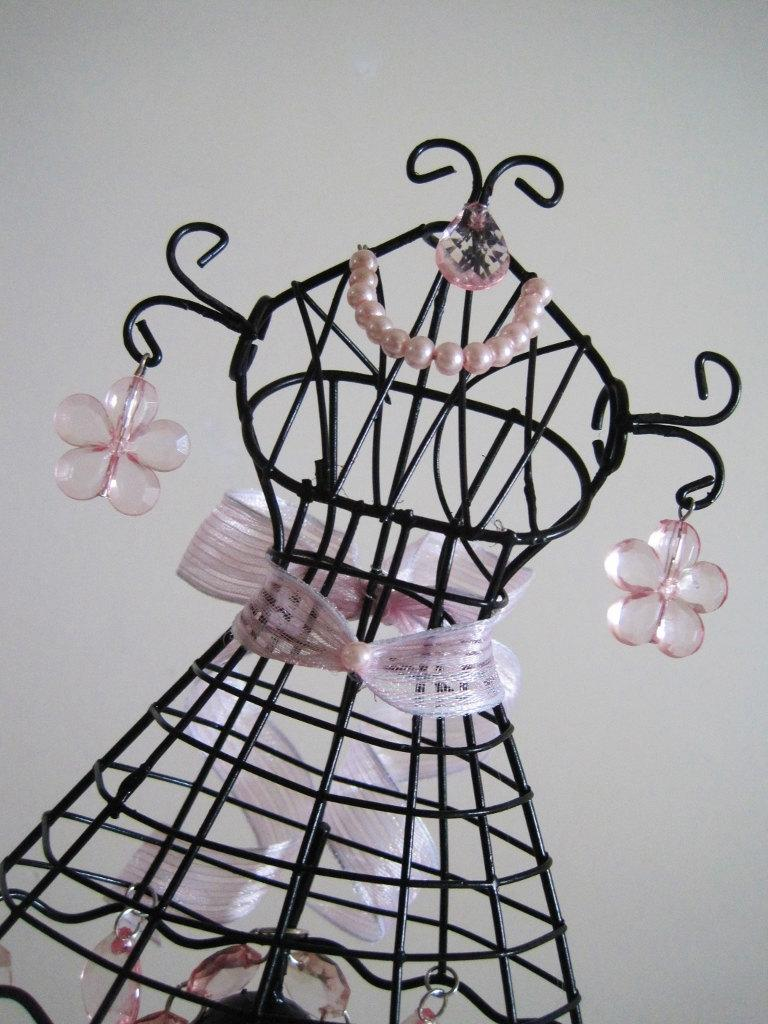 Mariage - La Prim and Proper Dress Form In Black and Baby Pink Cake Topper MADE TO ORDER