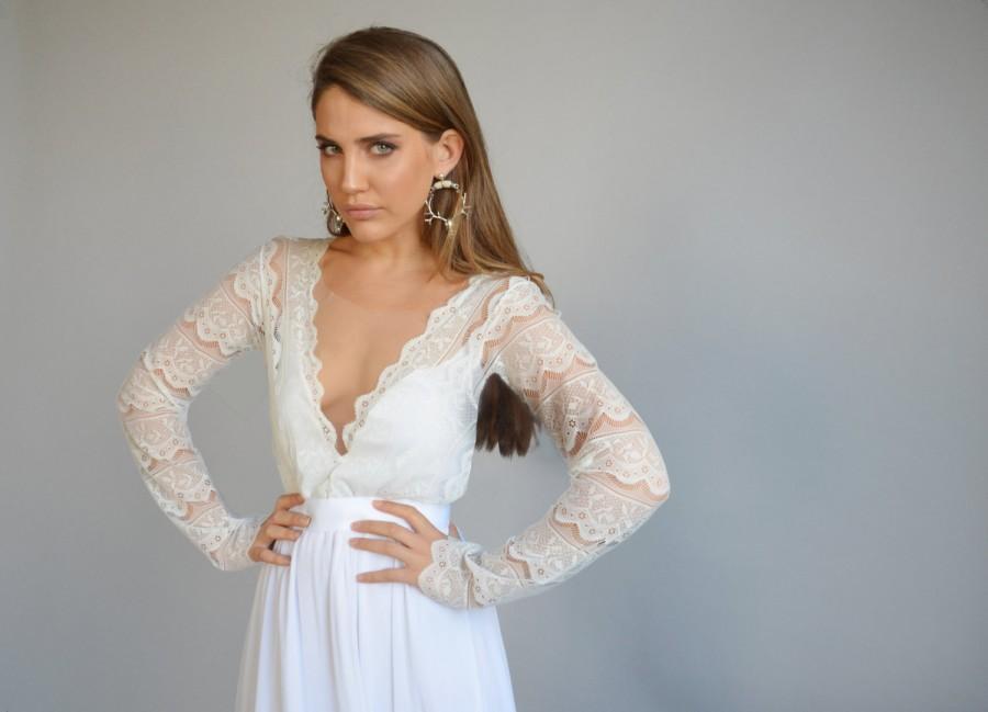 Wedding - Lace wedding dress, long sleeves wedding dress, deep V neck line ,train  chiffon wedding dress