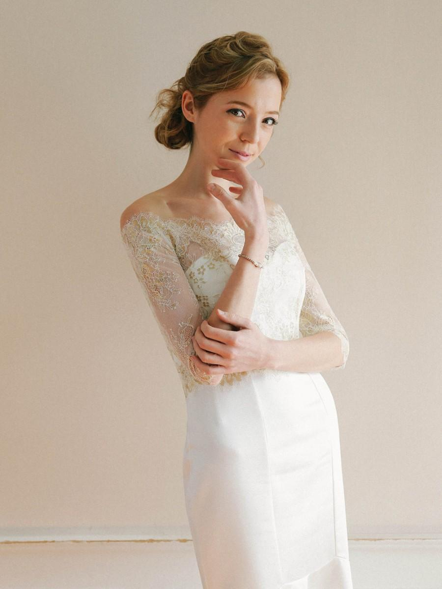 Bridal Lace Top Gold Wedding Top Off Shoulder Lace Topper