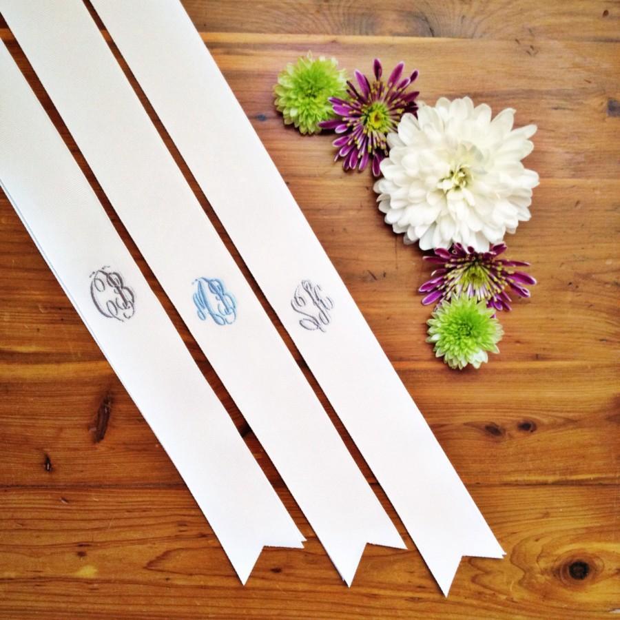 "Wedding - custom monogrammed bouquet ribbon (1.5"" wide grosgrain), bridal bouquet, bridesmaid bouquet"