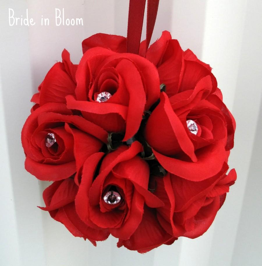 Свадьба - Wedding flower balls flower girl pomander, Red rose kissing ball Wedding decorations