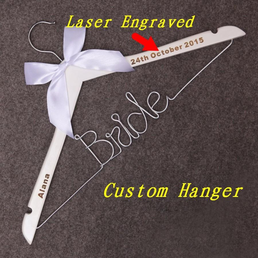 Bride hanger wedding dress hanger personalized custom for Personalised wedding dress hanger