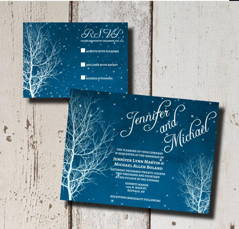winter wedding invitation suite printable starry nite branch winter