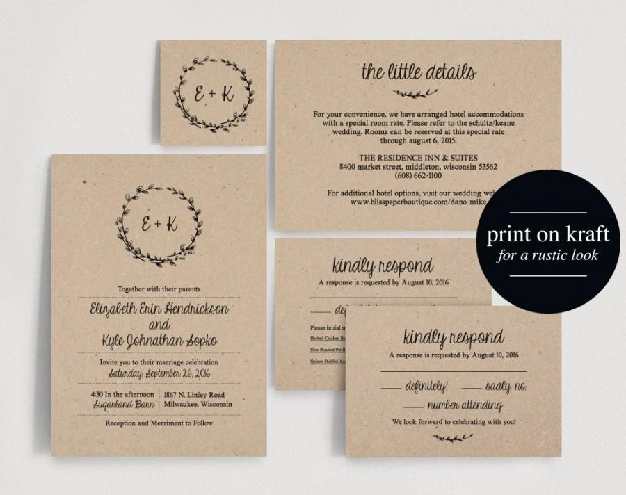 Wedding Invitation Printable, Rustic Wedding Invitation ...