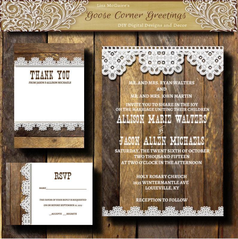 Printable Wedding Invitation Suite, Barnwood & Lace, Digital File ...