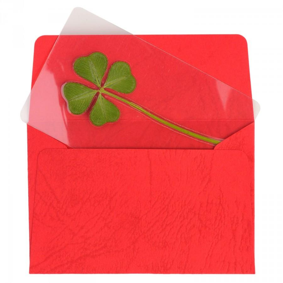 Mariage - Genuine Real 4 Four-Leaf Clover Bookmarks Irish Shamrock Good Luck Charm for Smartphone Wallet Case Amulet Purse Coating Gift Thanks Card M