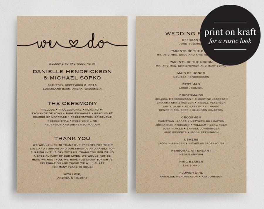 Wedding Programs Instant Download, Printable Template - Printable