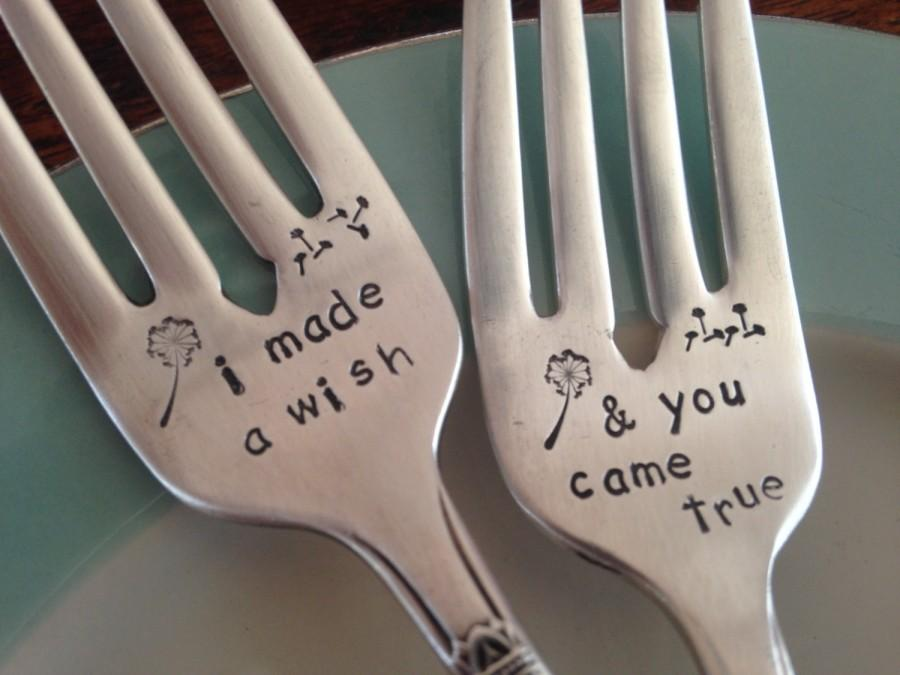 Свадьба - I Made A Wish  and You Came True,  vintage silverware hand stamped wedding fork cake fork