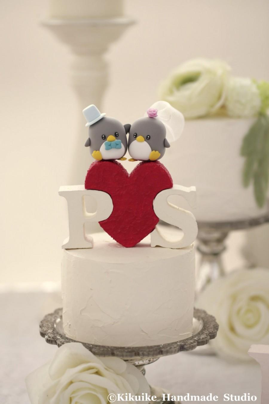 Свадьба - Penguins wedding cake topper (K442)