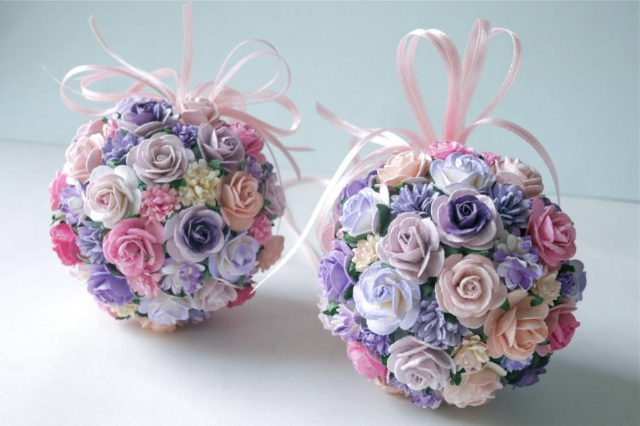 Mariage - Paper Flower,2Kissing ball, purple color.