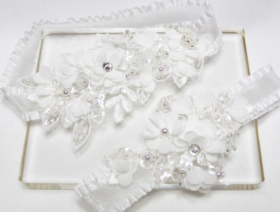 Hochzeit - Wedding Garter Set, White Garter Set, Floral garter, Wedding Bridal Garter, Lace Garter, Garters