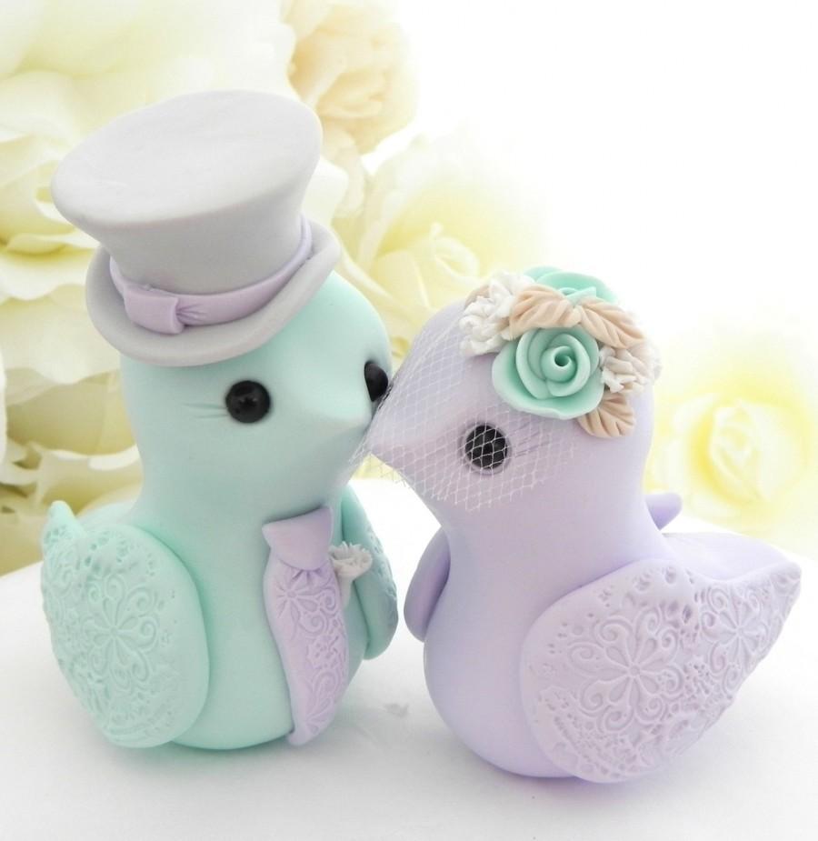 Mariage - Love Birds Wedding Cake Topper, Mint Green, Lilac, Grey and Cream, Bride and Groom Keepsake