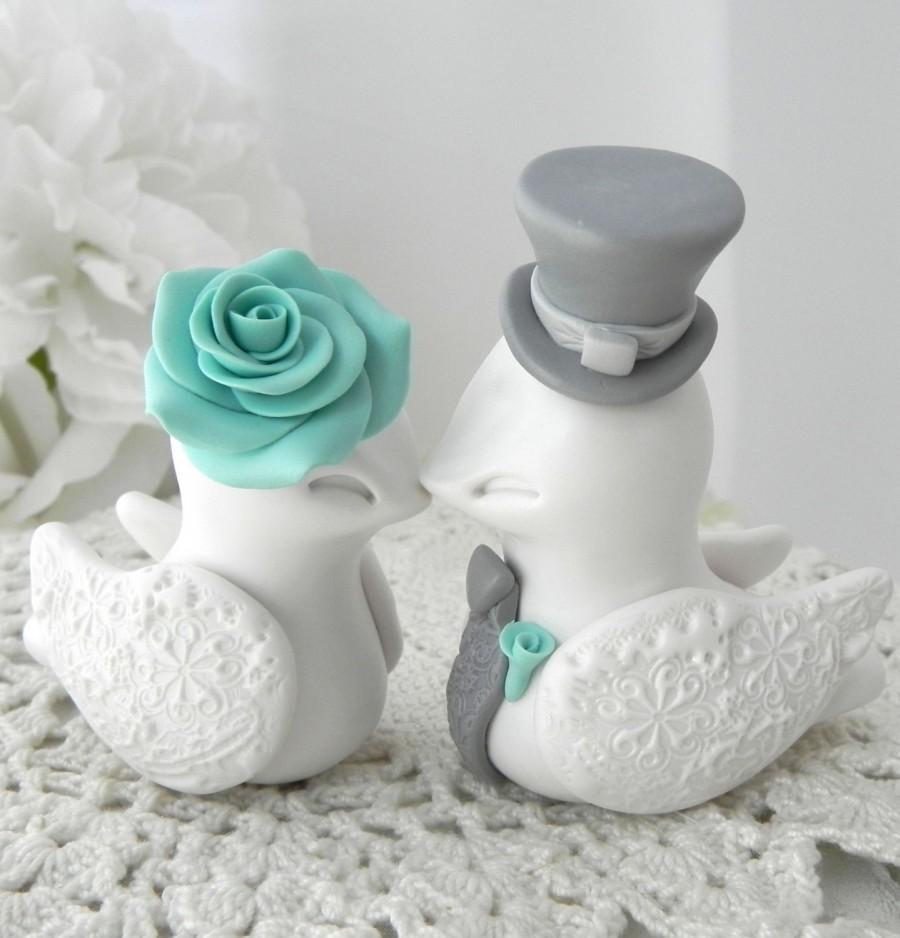 Mariage - Wedding Cake Topper, Love Birds, Ivory, Robins Egg Blue and Grey, Bride and Groom Keepsake