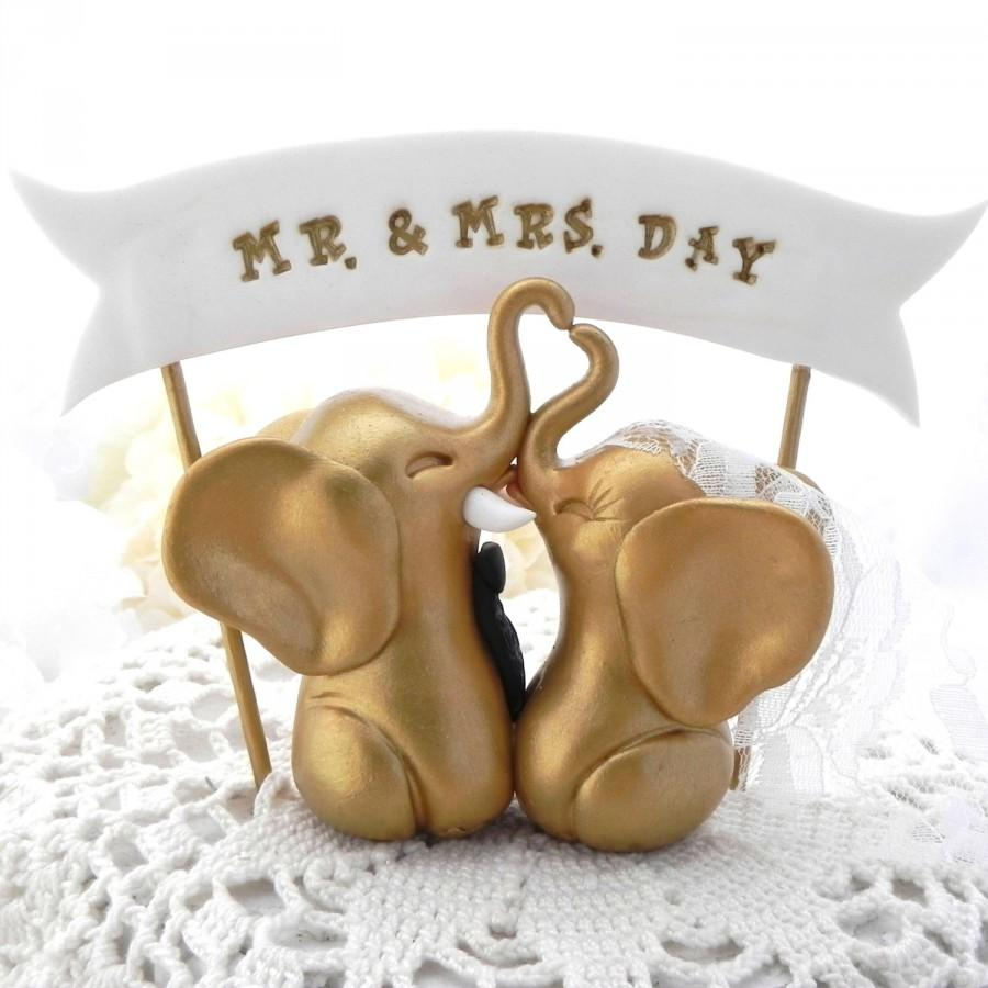 Hochzeit - Elephant Wedding Cake Topper, Gold and Black, Custom Phrase Banner, Bride and Groom Keepsake, Fully Custom