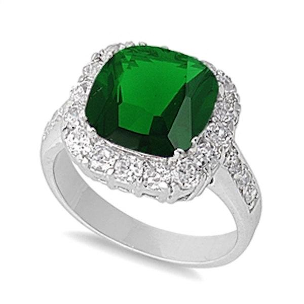 Wedding - Solid 925 Sterling Silver 5.20 Carat Cushion Cut Emerald Green Round Russian Diamond CZ Halo Cocktail Wedding Engagement Promise Ring