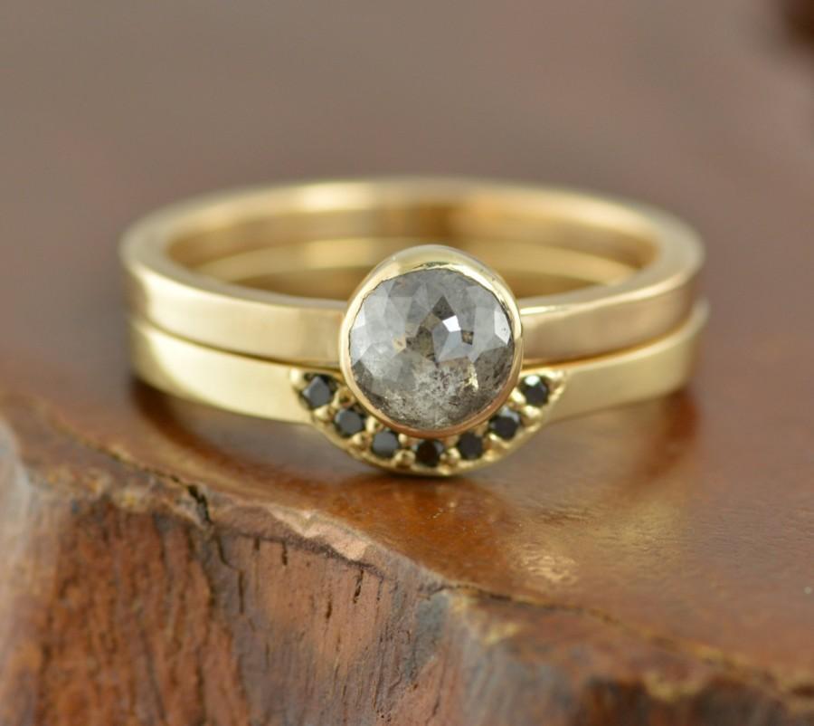 زفاف - Black Rose Cut Diamond Ring, 14k Rose Gold